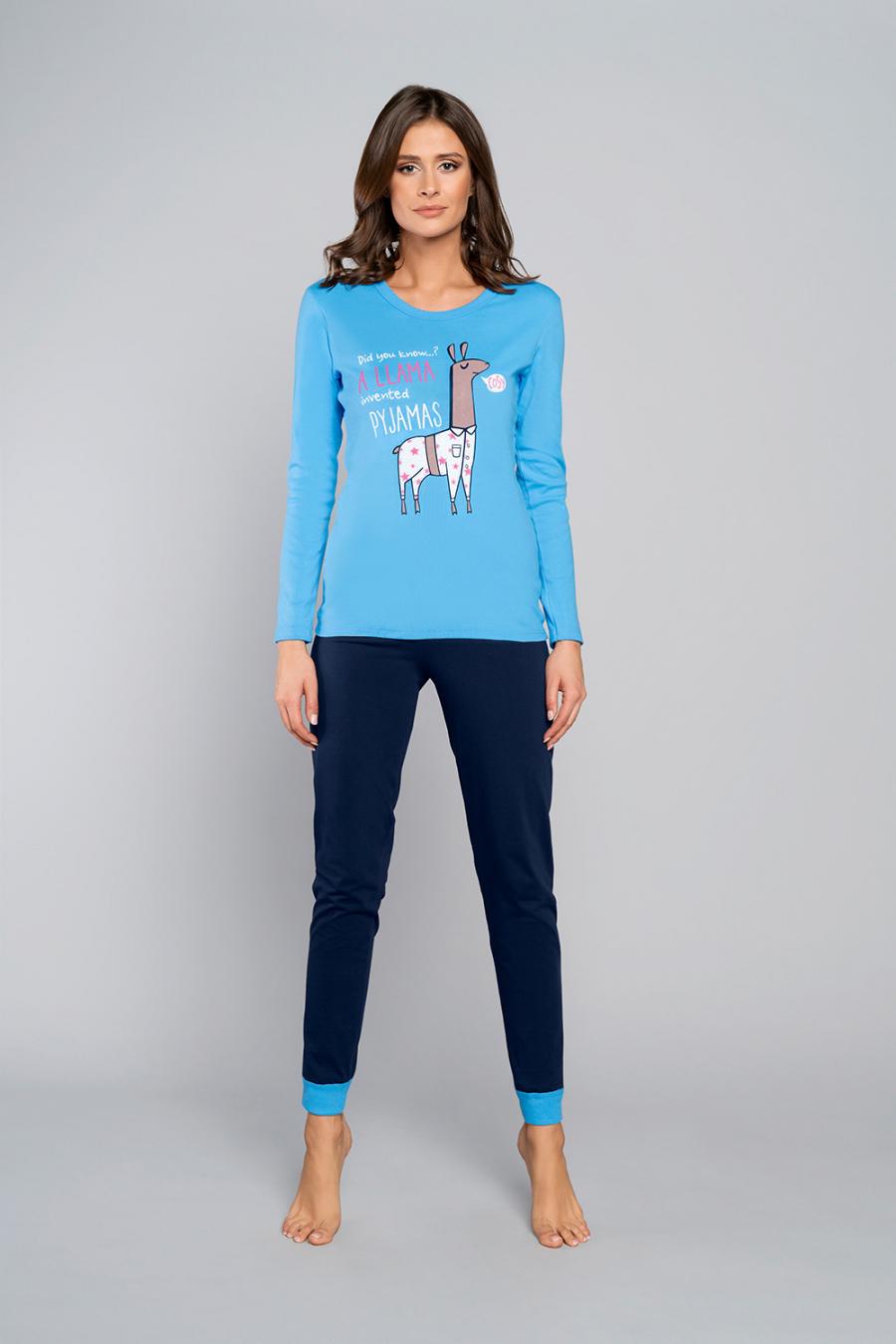 Hosszú ujjú - J.PRESS - Kék láma mintás női pizsama szett J.PRESS