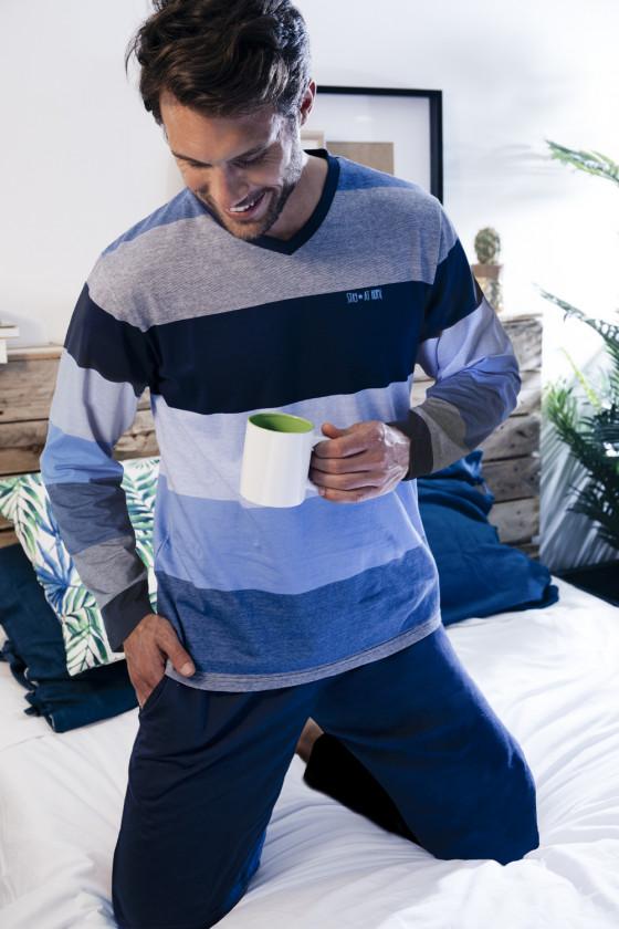 Hosszú ujjú - ADMAS - Csíkos hosszú ujjú férfi pizsama ADMAS