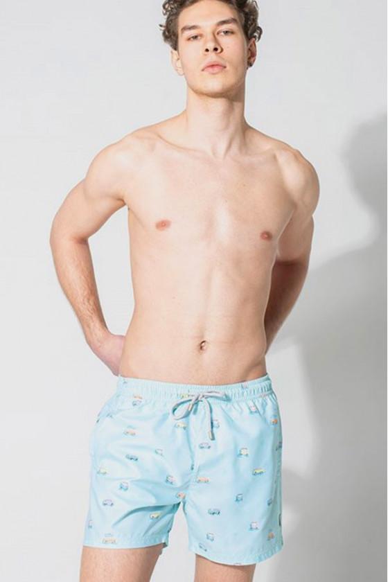 Férfi fürdőnadrágok - JOHN FRANK - Színes lakóautó mintás férfi beach short John Frank