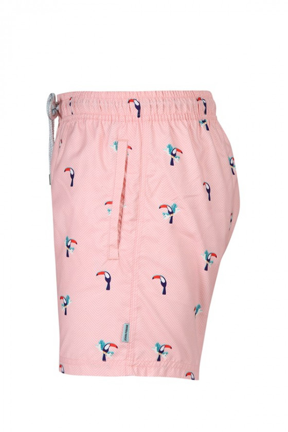 JOHN FRANK - Rózsaszín tukán madaras férfi beach short