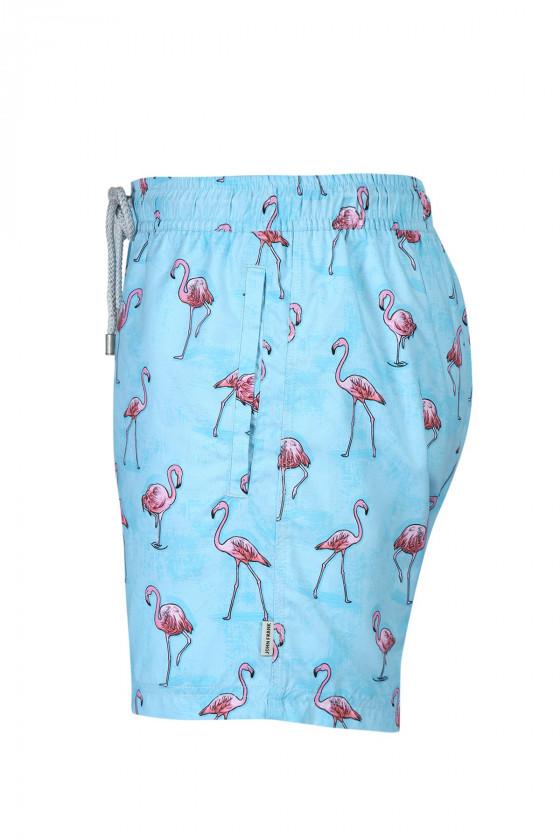 JOHN FRANK - Flamingó mintás beach short